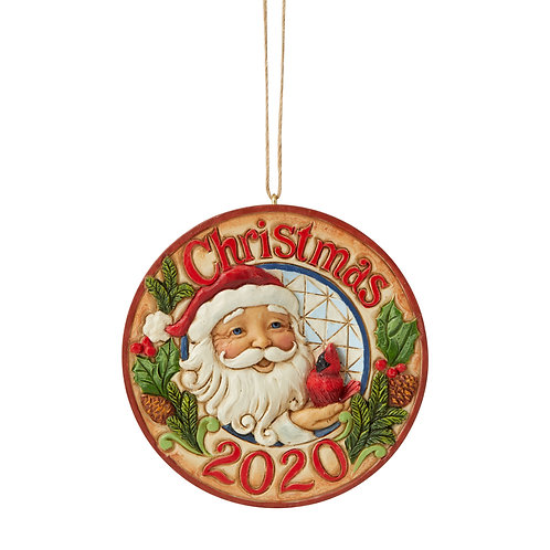 Santa with Cardinal 2020 Dated Ornament