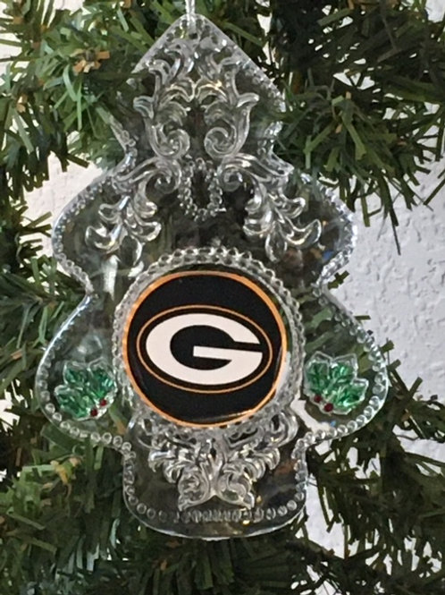 Packers Acylic Tree - Cut Crystal Design Ornament