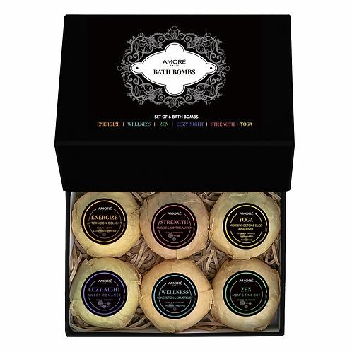 Amoré Fresh Handmade Bath Bombs (6-Piece Gift Set)