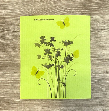 Meadow Flowers On Green Backing .......... Swedish Dishcloth
