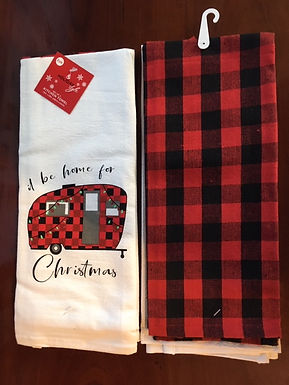 Set of 2 Hoiday Bistro Towels ..... I'll Be Home For Christmas and A Red & Black