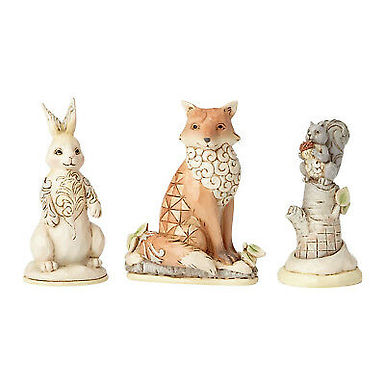 White Woodland Animals Set