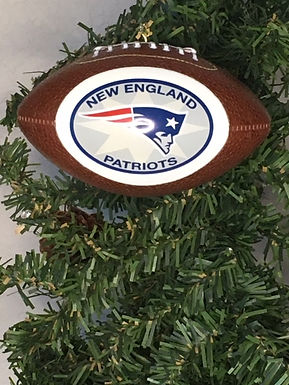 Patriots Replica Football with Rounded Logo Ornament
