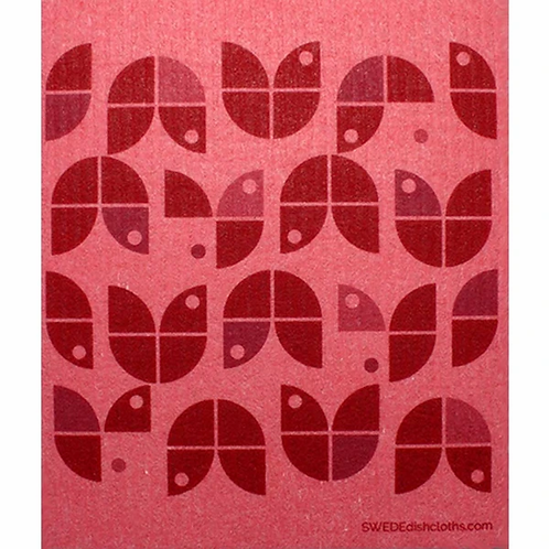 Geometric Red Flowers ....... Swedish Dishcloth