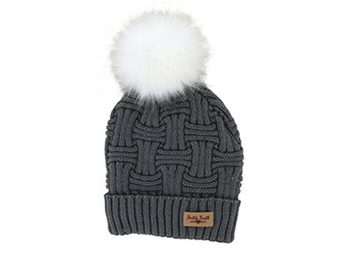 Gray Lined Knit Hat with Pom