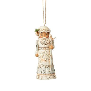 White Wonderland Santa Nutcracker Ornament