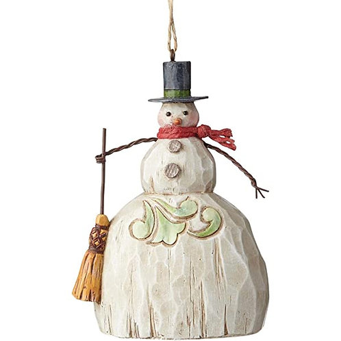 Folklore Snowman with Broom Ornament