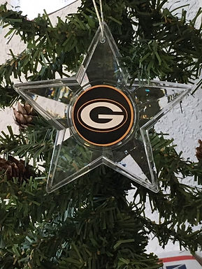 Packers Acylic Star w/ green background - Cut Crystal Design Ornament