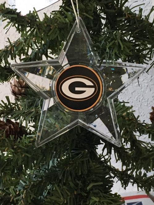 Packers Acylic Star w/ green background - Cut Crystal Design Ornament