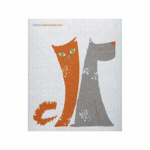 Cat And Dog .......... Swedish Dishcloth