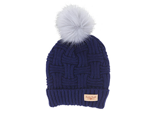 Navy Lined Knit Hat with Pom