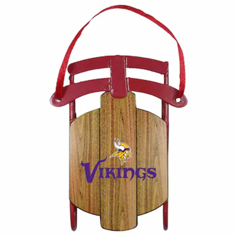Vikings Metal Sled Ornament