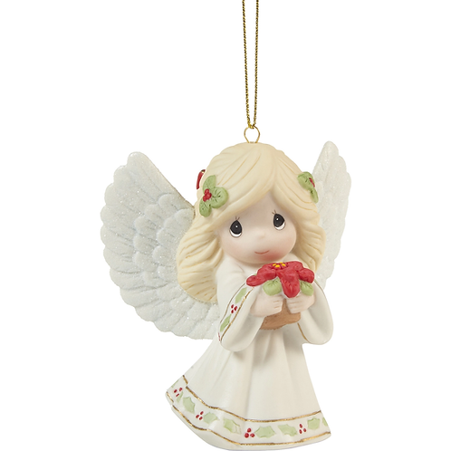 May Your Christmas Blossom With Peace And Happiness Annual Angel Ornament