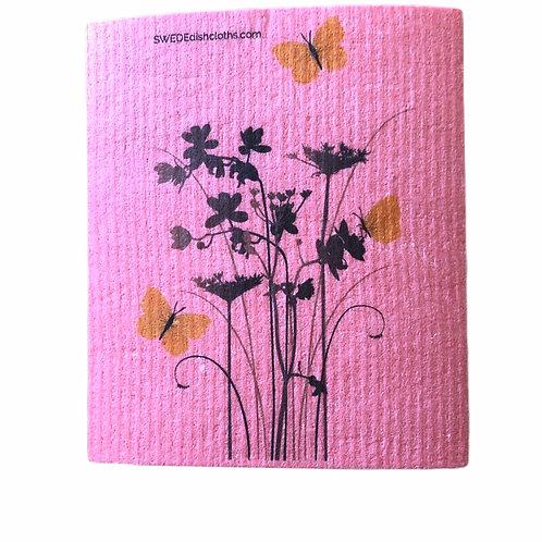 Meadow Flowers On Pink Backing .......... Swedish Dishcloth