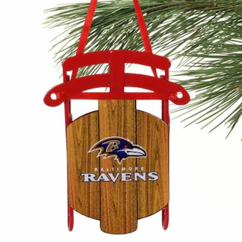 Ravens Metal Sled Ornament