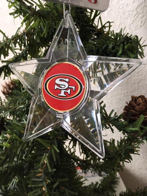 49ers Acylic Star - Cut Crystal Design Ornament