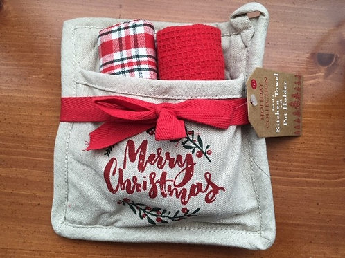 Merry Christmas ..... 2 Towels & Pot Holder Set