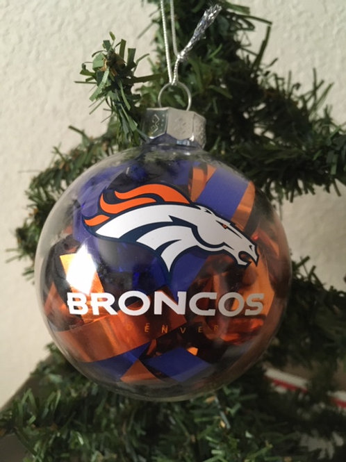 Broncos Tinsel Ball Ornament