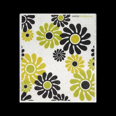 Green, Yellow, Brown Modern Flowers ....... Swedish Dishcloth