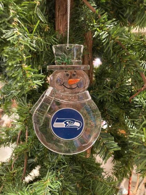 Seahawks Acylic Snowman - Cut Crystal Design Ornament
