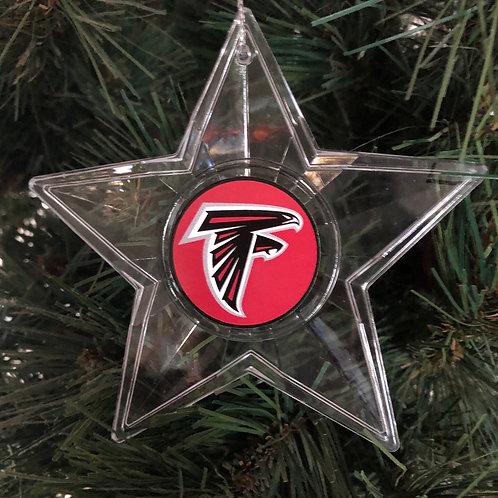 Falcons Acylic Star - Cut Crystal Design Ornament