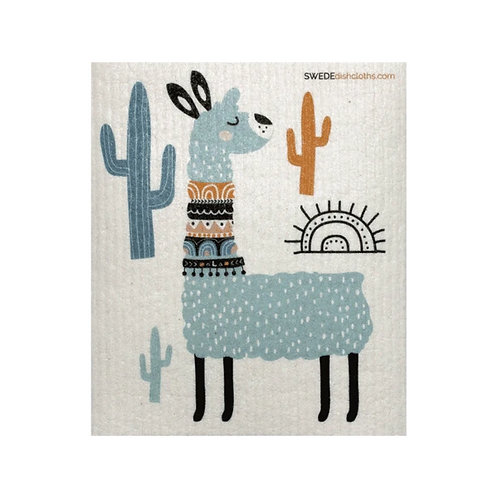 Blue Llama .......... Swedish Dishcloth