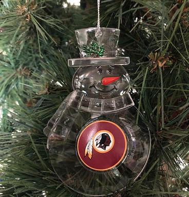 Redskins Acylic Snowman - Cut Crystal Design Ornament