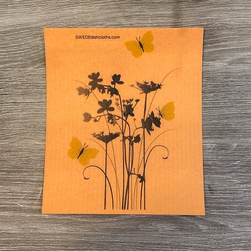 Meadow Flowers On Orange Backing .......... Swedish Dishcloth