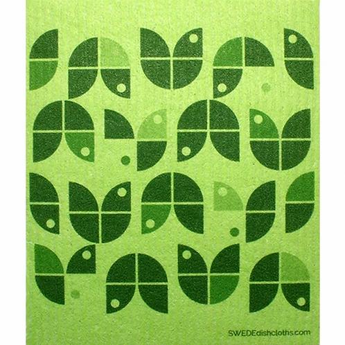 Geometric Green Flowers ....... Swedish Dishcloth