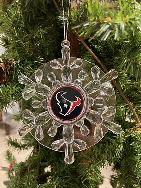 Texans Acylic Snowflake - Cut Crystal Design Ornament