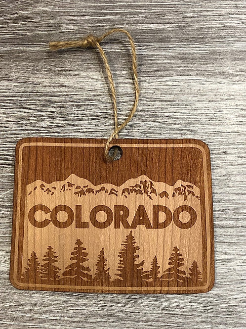 "Wood Colorado Ornament - ""Colorado"" Mountain Scene"