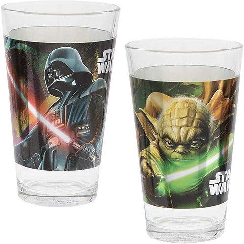 Vandor Star Wars Darth Vader and Yoda ..... 2 peice Set of 16oz Glasses