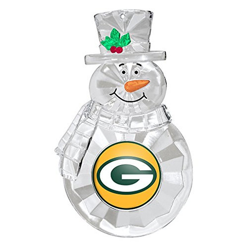 Packers Acylic Snowman - Cut Crystal Design Ornament