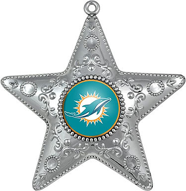 Dolphins Silver Star Ornament