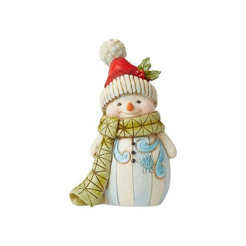 Mini Snowman with Green Scarf