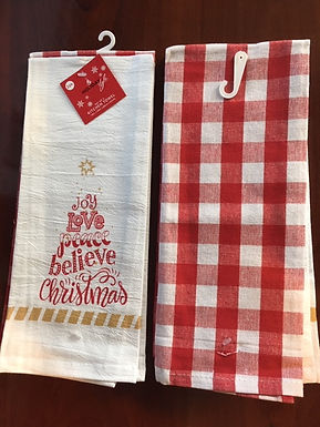 Set of 2 Bistro Towel.....Joy Love Peace Believe Christmas  and a Red & White Ck