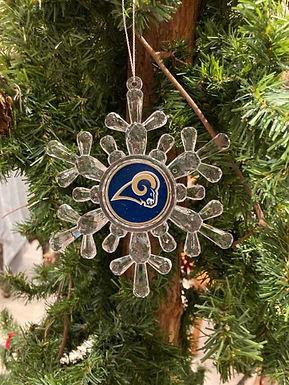 Rams Acylic Snowflake - Cut Crystal Design Ornament