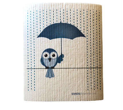 Blue Owl Under Blue Umbrella .......... Swedish Dishcloth
