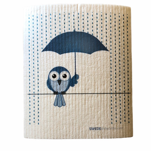Blue Owl Under Blue Umbrella .......... Swedish Dishcloth