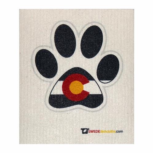 Colorado Flag Paw Print .......... Swedish Dishcloth