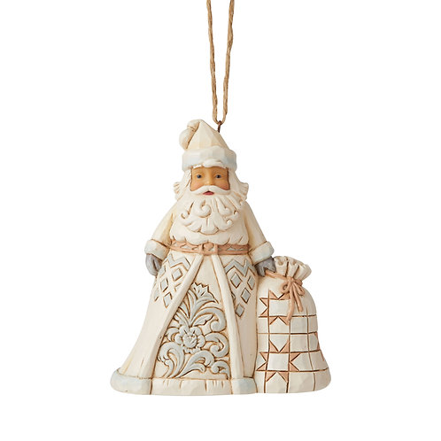 White Woodland Santa With Toybag Ornament