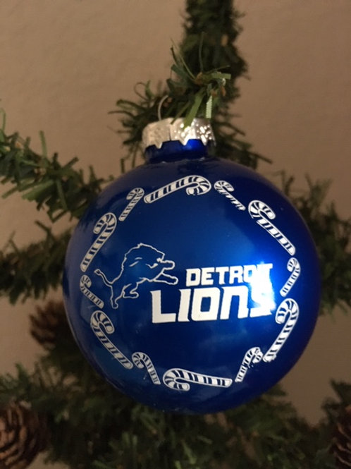 Lions Candy Cane Ball Ornament