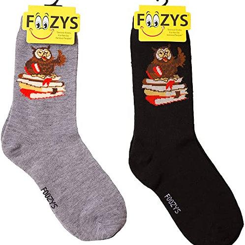Foozys Womens Owl w/ Books Socks ..... 2 pr (1 pair of each color)