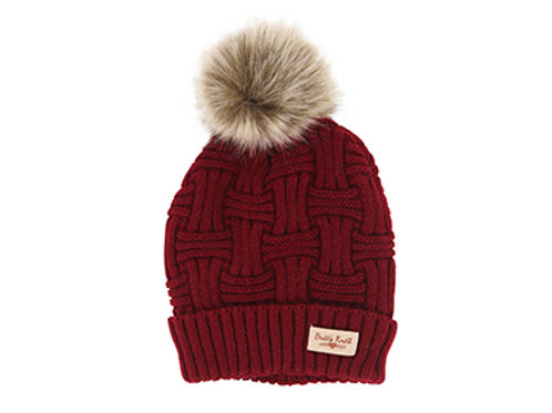 Red Lined Knit Hat with Pom