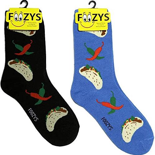 Foozys Womens Taco Socks ..... 2 pr (1 pair of each