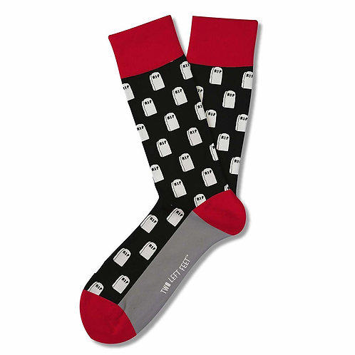 Two Left Feet Socks - To Die For Tombstones - Big Feet Size