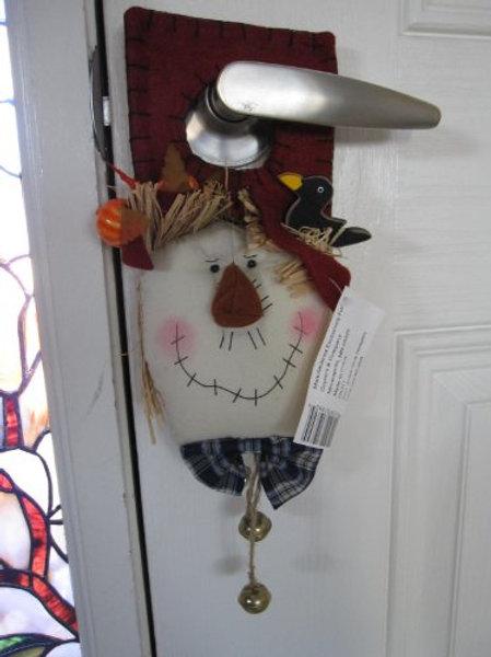 Scarecrow Door Knob Hanger with Red Hat