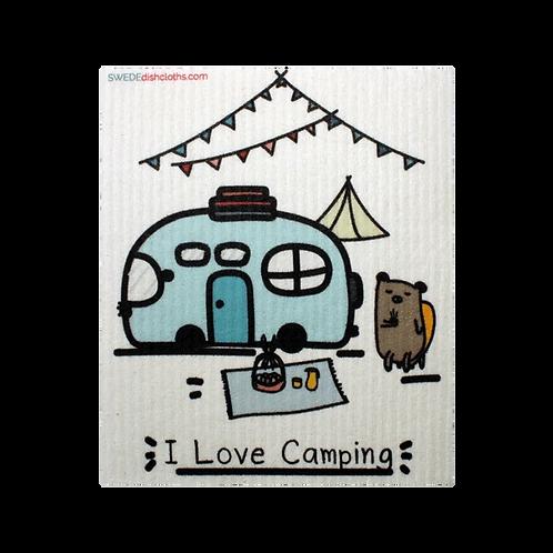 I  Love Camping ........ Swedish Dishcloth