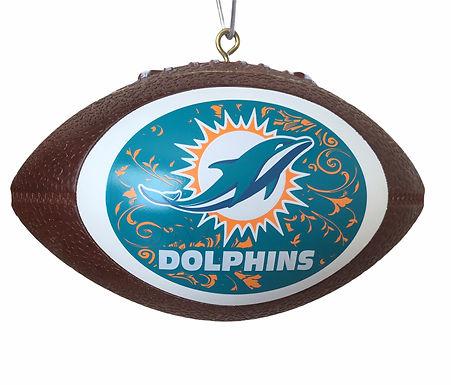 Dolphins Replica Football Ornament