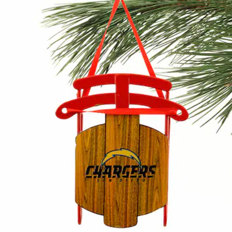 Chargers Metal Sled Ornament
